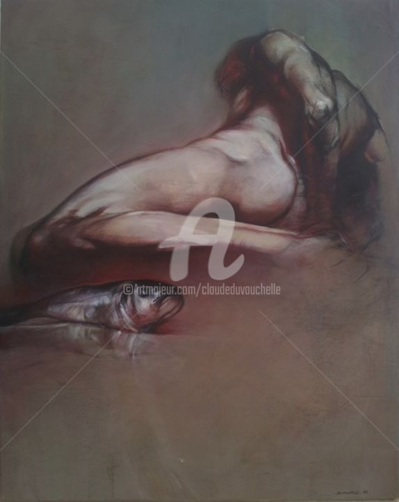 HOMME et POISSON 93x72cm - Painting,  93x72 cm ©2012 by Claude DUVAUCHELLE -                                                                                                            Figurative Art, Contemporary painting, Canvas, Body, Men, Nude, Fish, corps Humain, Poisson, Peinture expressionniste