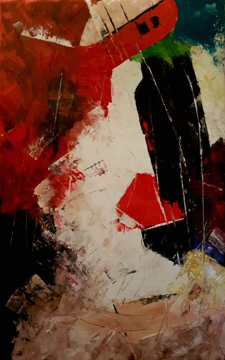 le takoma - Painting,  49.2x29.5 in, ©2019 by Claude Grand -                                                                                                                                                                          Abstract, abstract-570, artwork_cat.Colors