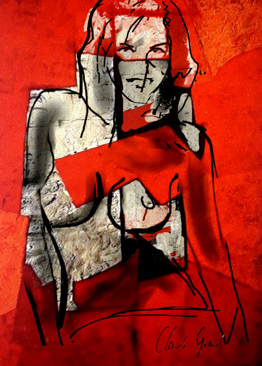 La robe rouge - Digital Arts, ©2017 by Claude Grand -                                                                                                                                                                                                                                                                                                                  Abstract, abstract-570, Women, Claude Grand, Art numérique, peinture numérique