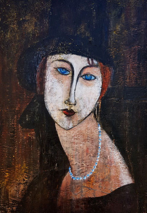Hélène - Painting,  27.6x19.7x0.4 in, ©2019 by Claude Grand -