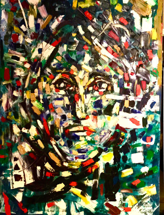 Cocaine Jane - Painting,  72x48x1 in, ©2000 by Claude Paquette -                                                                                                                                                                          Abstract, abstract-570, Women