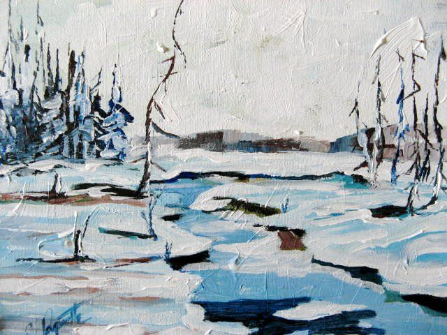 Le Ruisseau - Painting,  12x10 in ©2007 by Claude Paquette -