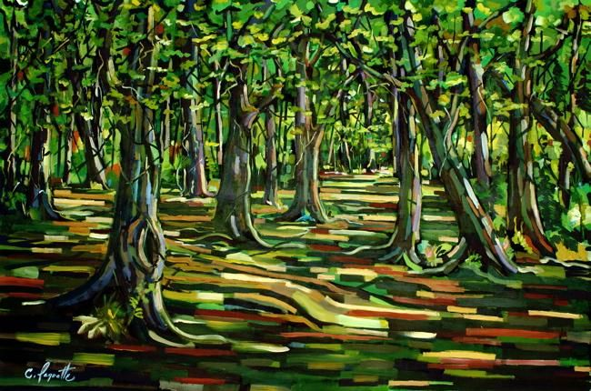 La longue marche - Painting,  72x48 in ©2004 by Claude Paquette -
