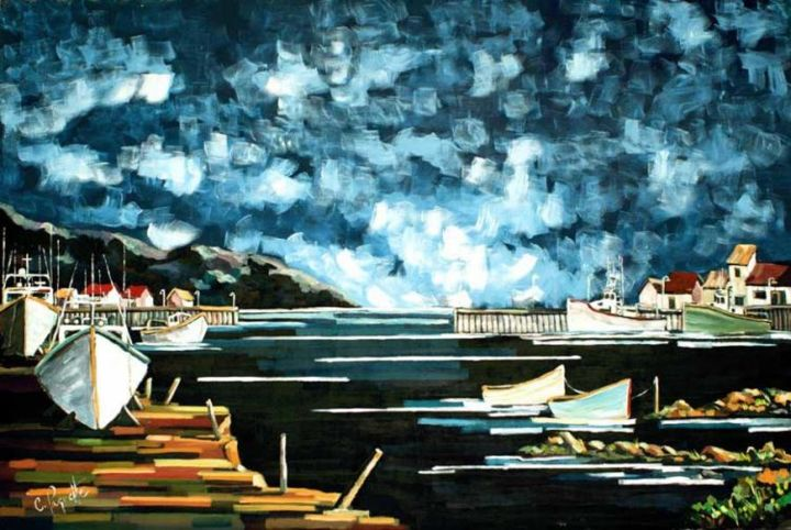 Crépuscule - Painting,  72x48 in ©2004 by Claude Paquette -