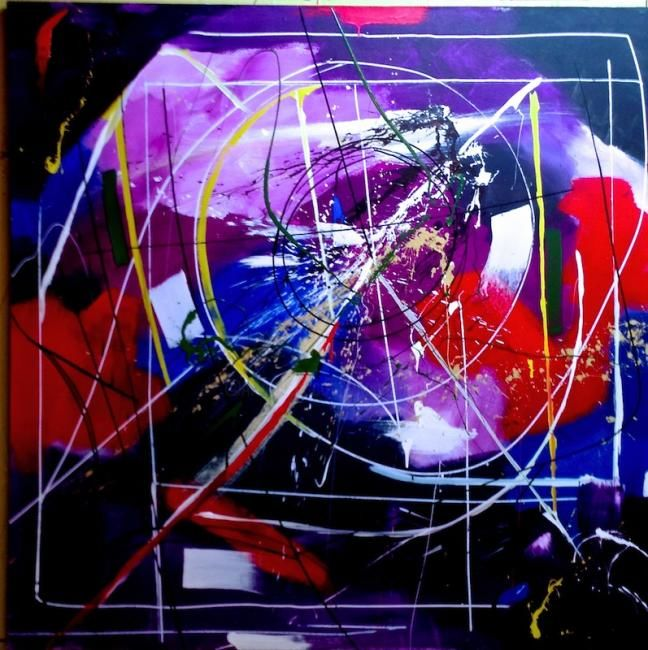 Magnitude zero zero - Painting,  48x48 in ©2013 by Claude Paquette -                            Expressionism, Abstraction