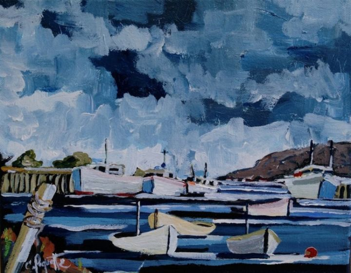 Port de mer - Painting,  72x48 in ©2013 by Claude Paquette -                        Figurative Art