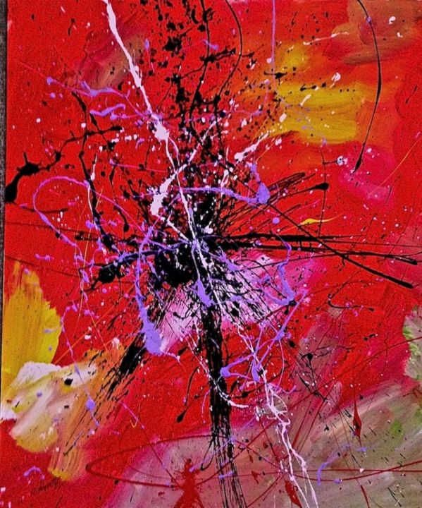 street-jazz-trio.jpg - Painting,  60x50 cm ©2013 by Claude Paquette -                            Expressionism, abstraction
