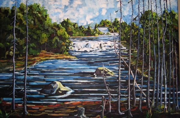 Le Portage - Painting,  48x72 in ©2004 by Claude Paquette -