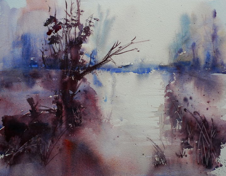 """Painting titled """"mist-over-the-pond.…"""" by Claudia Slaney, Original Art,"""