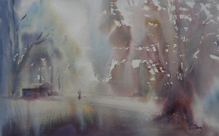"""Painting titled """"misty-morning-shed.…"""" by Claudia Slaney, Original Art,"""