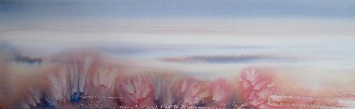 """Painting titled """"misty waikato abstr…"""" by Claudia Slaney, Original Art, Watercolor"""