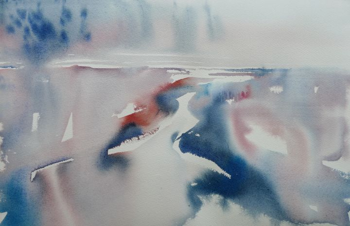 """Painting titled """"abstract wetland"""" by Claudia Slaney, Original Art, Watercolor"""