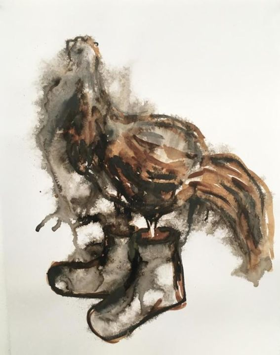 Chicken with shoes - Drawing ©2019 by Cláudia Pedro -                                                                                                Contemporary painting, Paper, Animals, Birds, Nature, Still life, Animais, quinta, George Orwell, Animal Farm