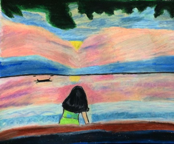 """Painting titled """"Dawn at the beach"""" by Claudine Perero, Original Art, Pastel"""