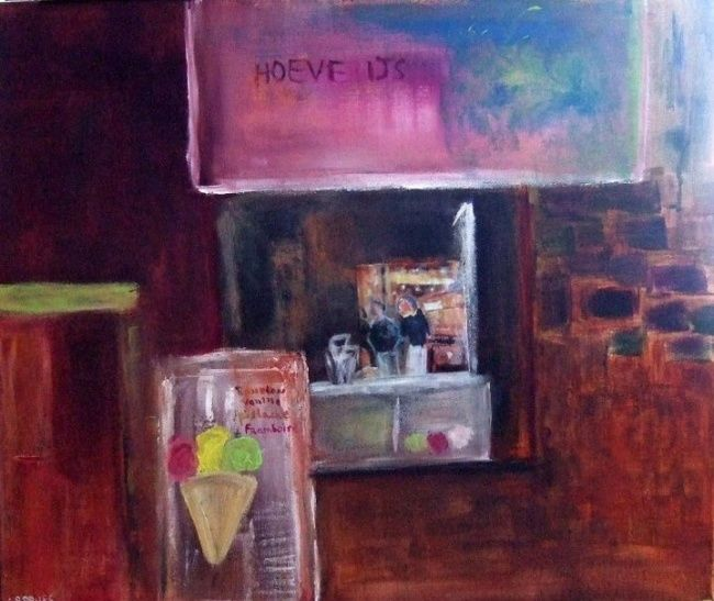Hoeve Ijs - Painting,  55x65 cm ©2011 by Claudine Roques Ayache -                            Contemporary painting, Ice cream
