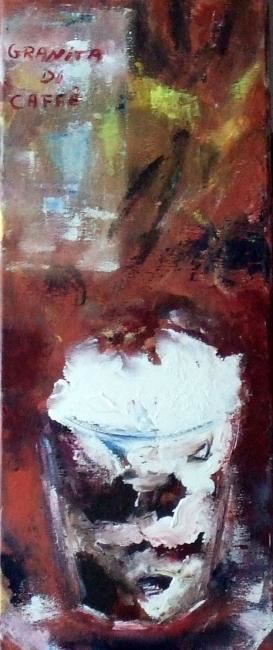 Granita di caffe - Painting,  20x50 cm ©2011 by Claudine Roques Ayache -                            Contemporary painting, verrine chantilly cafe