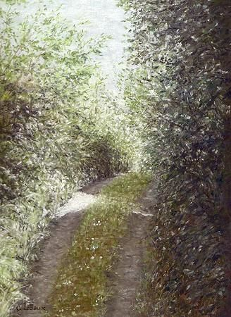 Chemin bocager - Painting,  9.5x7.1 in, ©2005 by Cécile Ledoux -