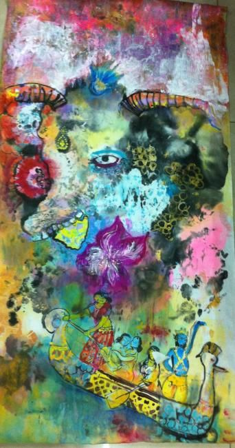 """Painting titled """"Holy cow with lord…"""" by Cleo Lim, Original Art,"""