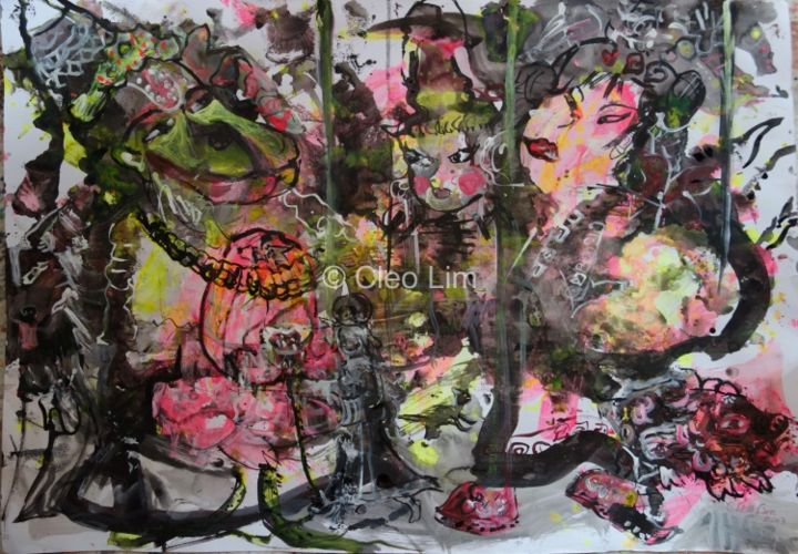 """Painting titled """"Sacred Puppets"""" by Cleo Lim, Original Art,"""
