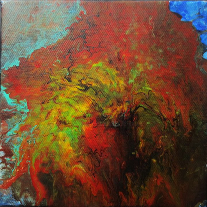 deva du feu - Painting,  20x20x2 cm ©2017 by Nahalah -                                                            Abstract Art, Canvas, Abstract Art, abs, volcano