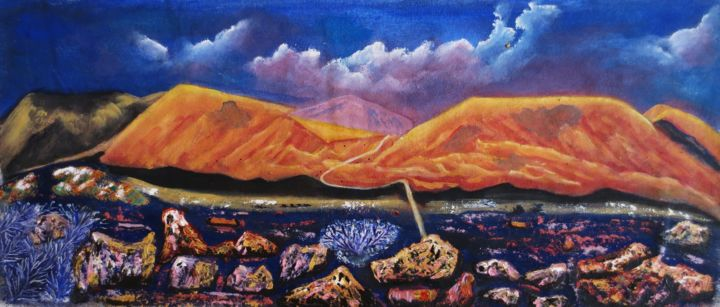 La plaine des sables - Painting,  29x69x2 cm ©2017 by Nahalah -                                                        Contemporary painting, Canvas, Nature