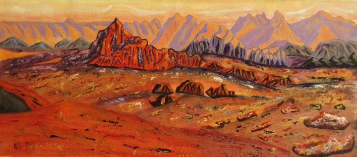 volcan8-17-001.jpg - Painting,  29x69x2 cm ©2017 by Nahalah -                                                            Contemporary painting, Canvas, Nature, désert