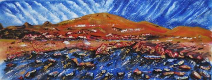 Piton Chisny - Painting,  29x69x2 cm ©2017 by Nahalah -                                                            Contemporary painting, Canvas, Nature, volcan, piton Chisny