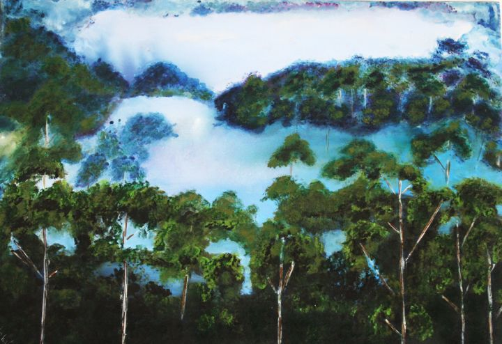 Foret-amazonienne - Painting,  50x70x2 cm ©2018 by Nahalah -                                                                        Contemporary painting, Cotton, Tree, Nature, amazonie