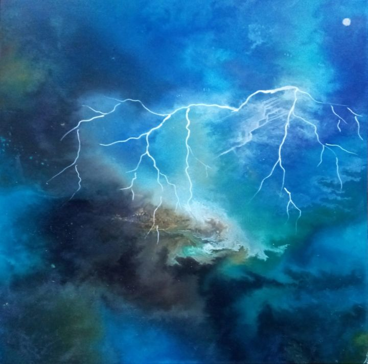 Flash of lightening - Peinture,  23,6x23,6x0,6 in, ©2020 par Nahalah -                                                                                                                                                                          Abstract, abstract-570, énergie