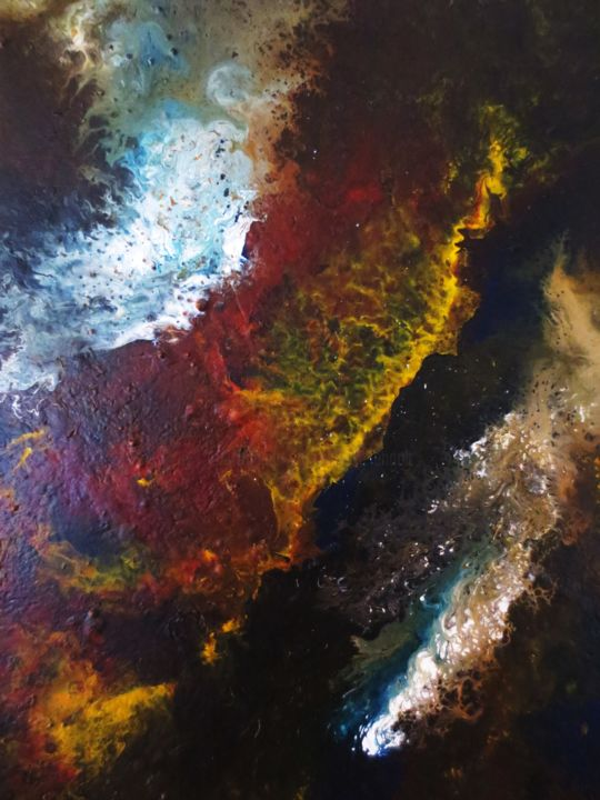 Sans titre - Painting,  16.1x13 in, ©2015 by Nahalah -                                                                                                                                                                                                                          Abstract, abstract-570, Outer Space, cosmos
