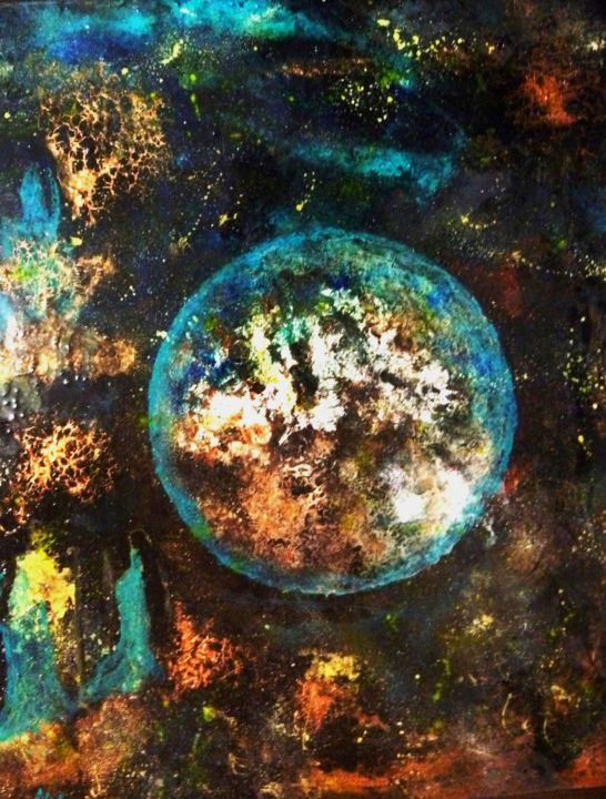 L'éther - Painting,  27.6x23.6 in, ©2012 by Nahalah -                                                                                                                                                                                                                                                                      Abstract, abstract-570, Abstract Art, Outer Space, cosmos
