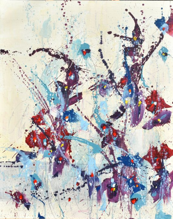 """Painting titled """"Fleur de Promesse (…"""" by Cynthia Ligeros, Original Art, Oil Mounted on Other rigid panel"""