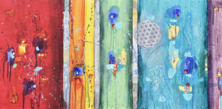 """Painting titled """"Colors of Joy"""" by Cynthia Ligeros, Original Art, Acrylic Mounted on Other rigid panel"""