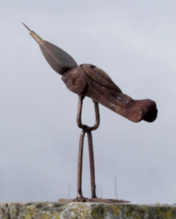 BIRDY - Sculpture,  9.5 in, ©2018 by clive manuel -                                                                                                                                                                                                                                                                      Figurative, figurative-594, Metal, Animals, Birds