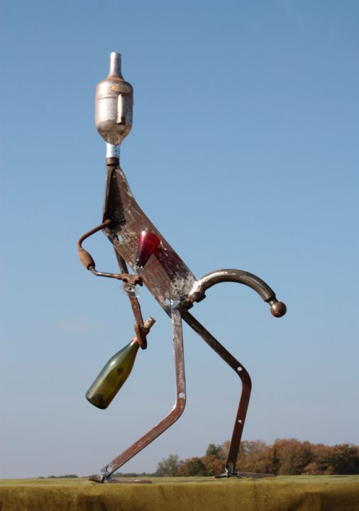 The brewer's droop - Sculpture,  53.2 in, ©2018 by clive manuel -                                                                                                                                                                                                                                                                                                                                                              Figurative, figurative-594, Aluminum, Metal, Men, Humor, Food & Drink