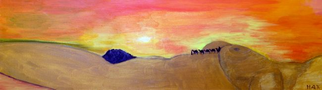 l'oasis - Painting,  9.8x29.5 in, ©2012 by Hax -