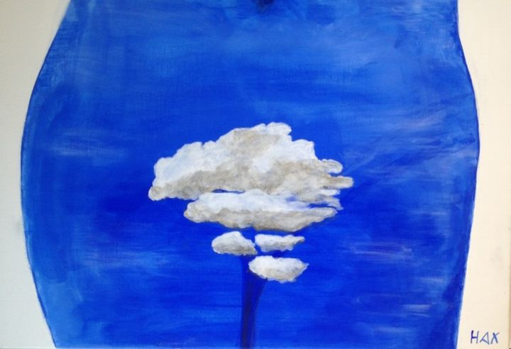 Madame Cloud - Painting,  19.7x28.7x0.4 in, ©2013 by Hax -