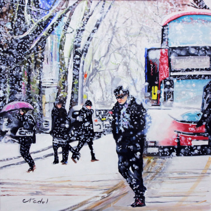 neige sur londres - Painting,  31.5x31.5x1.2 in, ©2019 by clotilde nadel -