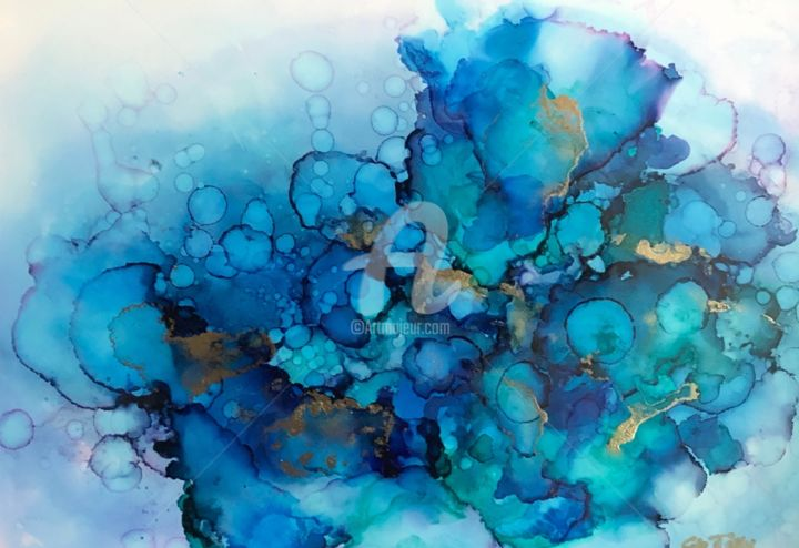 Abstrait 10 - Painting, ©2019 by Clo Tilly -                                                                                                                                                                                                                                                                                                                                                                                                                                                                                                                                                                                                                                                                                                                                                                          Abstract, abstract-570, Water, Nature, Seascape, bleu, vert, or, mer, ciel, gouttes, mouvement, encres, encres alcool, encres acryliques, yupo