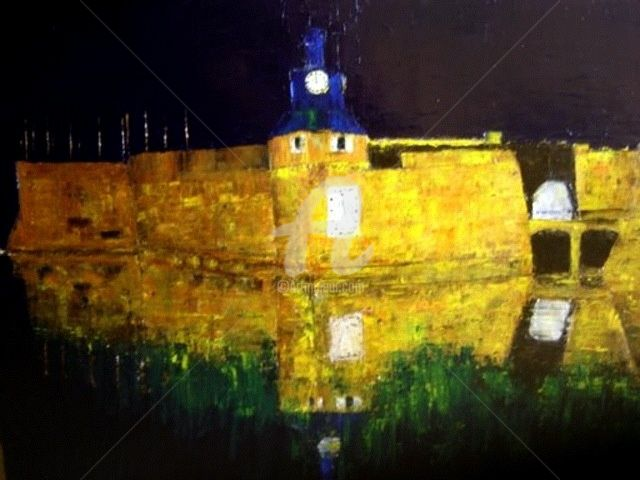 Ville Close - Painting,  70x90 cm ©2009 by Clo Tilly -                            Figurative Art, Ville Close, Concarneau, port, marine, bretagne