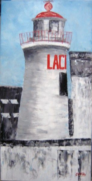Phare de la croix - Painting,  39.4x19.7 in, ©2010 by Clo Tilly -                                                                                                                                                                                                                                                                                                                                                                                                      Figurative, figurative-594, concarneau, phare, marine, mer, bretagne, finistère