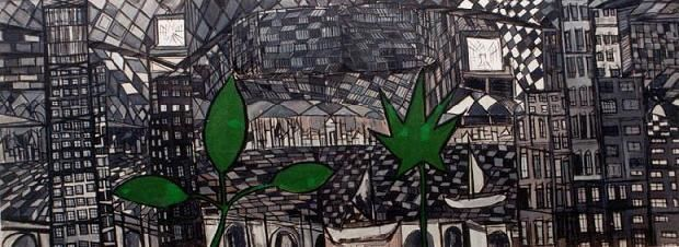 """Painting titled """"Green in the Metrop…"""" by Claude Bensimon, Original Art,"""