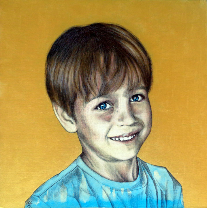 Alexandre - Drawing,  19.7x19.7 in, ©2018 by CM2T -                                                                                                                                                                                                                                                                                                                                                                                                                                                                                                                                              Figurative, figurative-594, Body, Kids, Portraits, stylo à bille, dessin contemporain, acrylique, portrait, enfant, doré