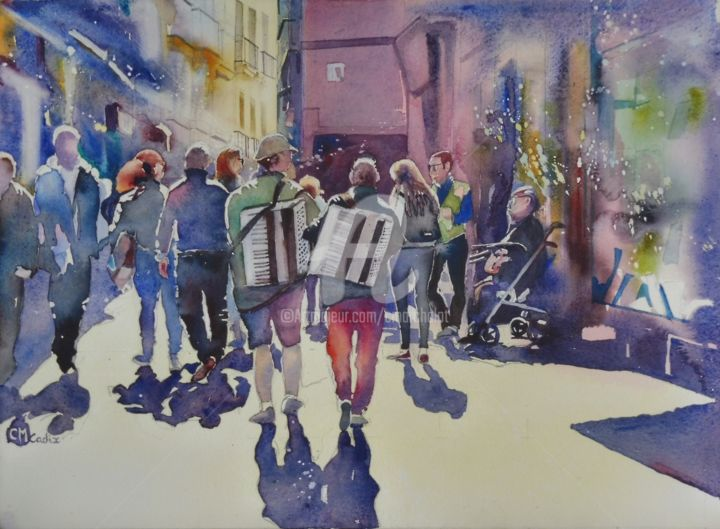 Les deux accordéonistes - Peinture,  14,2x20,1 in, ©2020 par Claude Marchalot -                                                                                                                                                                                                                                                                                                                                                                                                                                                                                                  Figurative, figurative-594, artwork_cat.Cityscape, Personnes, peinture, aquarelle, Cadix, Andalousie, Musiciens, accordéonistes