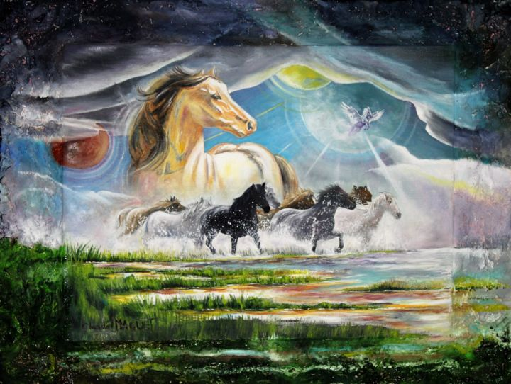 Pégase - Painting,  23.6x31.5x0.8 in, ©2019 by CLAUDE MAGUET -                                                                                                                                                                                                                                                                                                              Surrealism, surrealism-627, Animals, Horses, Outer Space, Fantasy