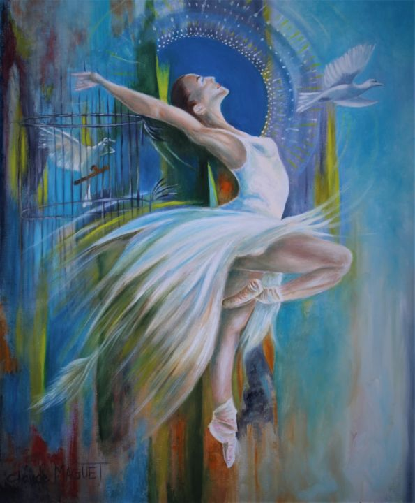 L'Attrapes rêves - Painting,  21.7x18.1x0.8 in, ©2019 by CLAUDE MAGUET -                                                                                                                                                                                                                                                                                                              Figurative, figurative-594, Love / Romance, Fantasy, Women, Birds