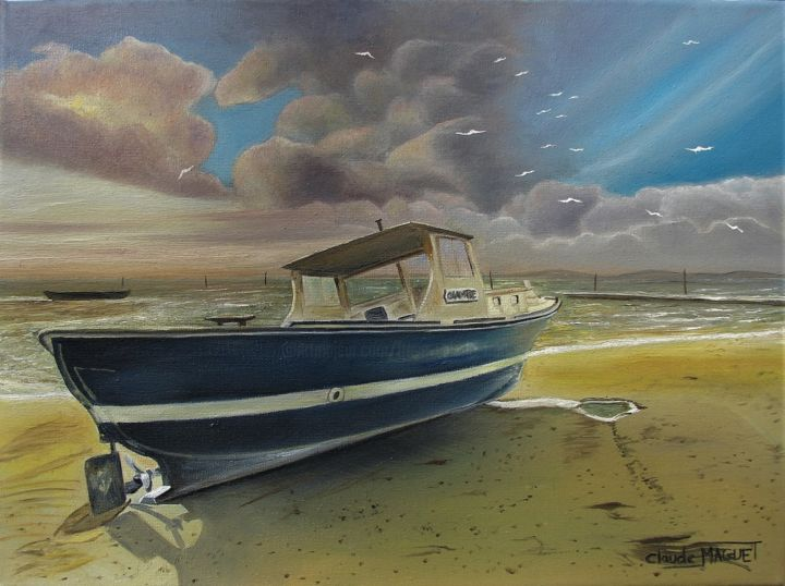 bassin d'Arcachon n°2 - Painting,  12.2x16.1x0.8 in, ©1995 by CLAUDE MAGUET -                                                                                                                                                                                                                                                                                                                                                          Figurative, figurative-594, Boat, Colors, Water, Seascape, Places