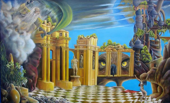 La croisée des mondes - Painting,  37.4x59.8x0.8 in, ©1995 by CLAUDE MAGUET -                                                                                                                                                                                                                                                                                                              Surrealism, surrealism-627, Architecture, Outer Space, Fantasy, Classical mythology
