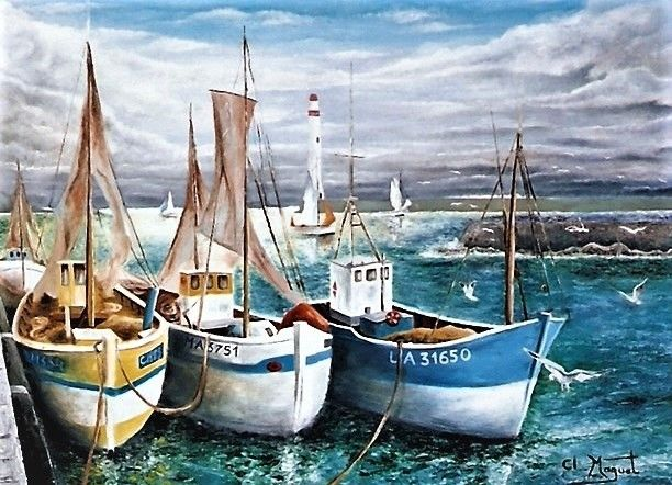 les chaluts - Painting,  24.4x29.5x0.8 in, ©1998 by CLAUDE MAGUET -                                                                                                                                                      Boat, Water, Seascape