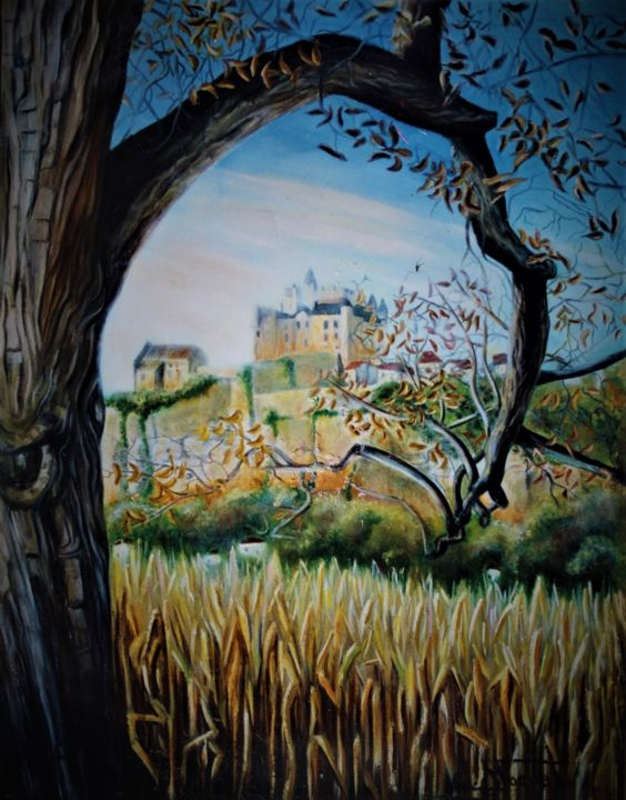 Automne à Beynac - Painting,  19.7x18.1x0.8 in, ©1990 by CLAUDE MAGUET -                                                                                                                                                                                                                                              Agriculture, Tree, Nature, Landscape, Places